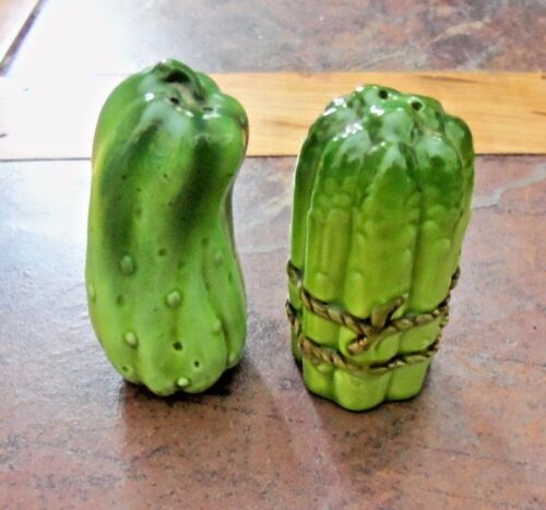 GREEN PICKLE SALT & PEPPER SHAKERS