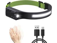 NEW sealed, LED Head torch Headlamp Rechargeable 600 Lumens COB, IPX4 Waterproof