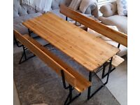 Garden Furniture Table And Bench Set - Wooden Beer Tent Table Set inc Back Rest