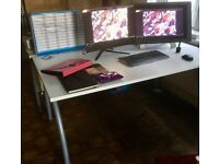 Solid office desk with discreet wiring fixtures (desk only)