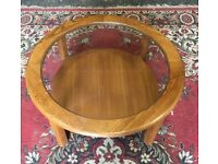 1970's Small Round Coffee Table With Glass Insert - Lounge - Staff Room - Retro