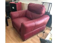 FREE Red leather electric reclining chair