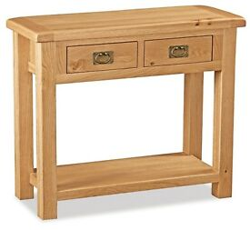 New Erne Salisbury Lite Oak Console Hall Table with 2 drawers & shelf £115