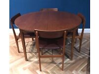 Lovely Mid Century Teak Extending Dining Table and Four Dining Chairs