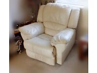 Pair of leather recliner chairs manual operation