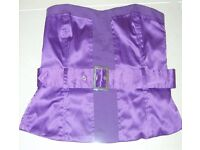 Purple strapless ladies/women's top inc belt. Ex cond. Suitable smart wear, party/wedding/cruise