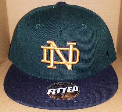 NWT ZEPHYR Notre Dame Fighting Irish green size fitted college ncaa cap hat - Fitted Zephyr College Cap