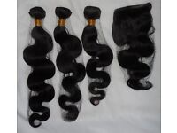 7A Brazilian Body Wave Human hair Virgin Lace Closure remy extensions 3x100g UK