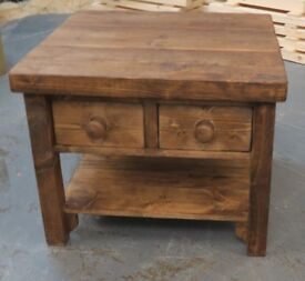New Hand Made Square Coffee Table with two Drawers and shelf