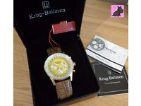 Krug Baumen 400219DS Air Traveller Diamond Gold with Yellow Dial Brown Strap - RRP: £339
