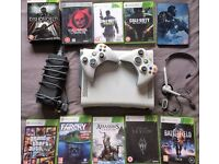 ! XBOX 360 CONSOLE WITH HEADSET/CONTROLLERS AND GAMES BUNDLE !