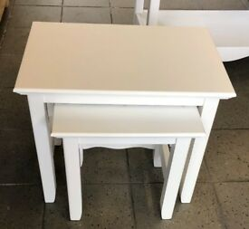 NEW. NEST OF 2 TABLES IN WHITE