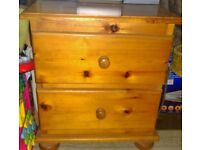 solid pine 2 drawer cabinet