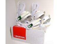 BURTON CARTEL Snowboard Bindings, White & Green, Medium M UK 7 - 9, BOXED