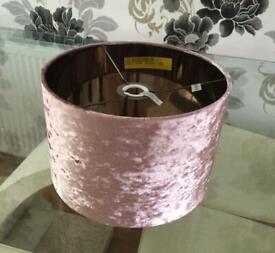 Velvet Drum Lamp Shade - Blush Pink - Brand New
