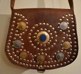 Lovely Studded Genuine Leather Saddlebag Unused