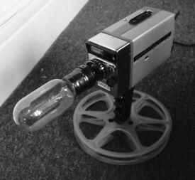 Super 8 movie camera upcycled lamp