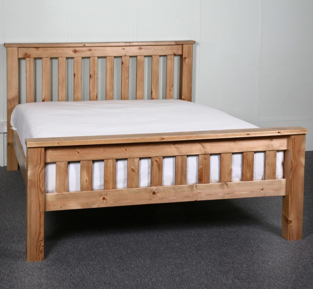 New solid wood bed double oak colour only £120 price and free delivery and fitting call now
