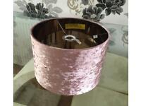 Velvet Drum Lamp Shade - Blush Pink.