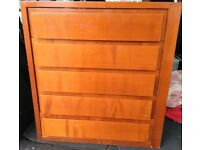 Solid Pine Chest of Five Drawers