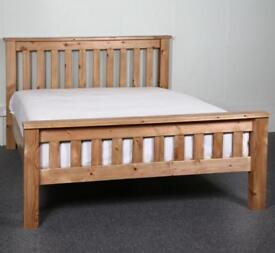 New solid wood bed double oak colour only £120 price