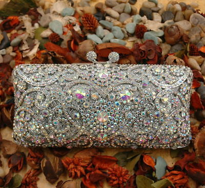 Evening luxury bling crystal clutch purse bag Bridal Rose Gold Silver AB Gray
