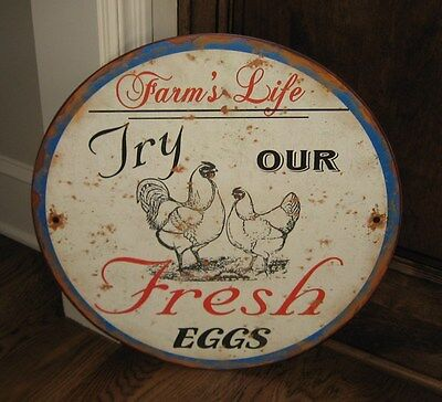 BiG Rooster/Chicken Eggs Farmhouse SIGN*Primitive/French Country Kitchen Decor