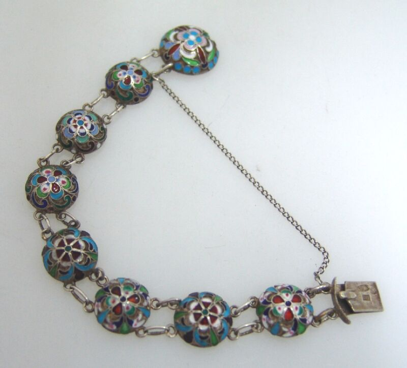 Russian 84 Standard Silver and Enamel Bracelet 1915