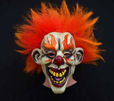 Creepy Evil Scary Halloween Clown Mask Rubber Latex FLAMED CLOWN - Scary Halloween Clowns
