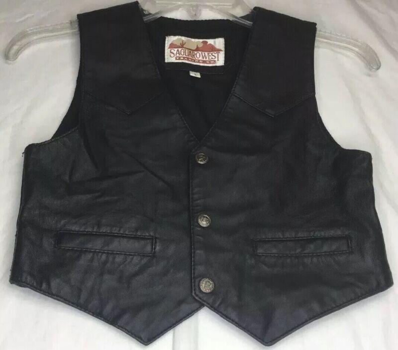 Saguara West Trading Co Leather Vest Size Large Black
