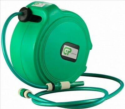 20 Mtr Retractable Water Hose Reel - Green Case & Hose free next day delivery