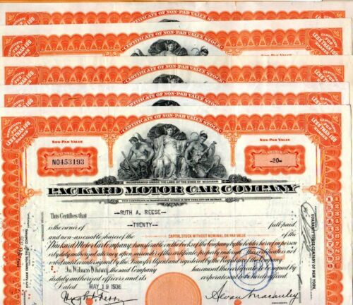 1936 Packard Motor Car Company 1936 Stock Certificates Set of 5-2