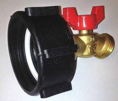 "275 - 330 GALLON IBC TOTE TANK ADAPTER  2"" COARSE x BRASS Hose FAUCET VALVE"