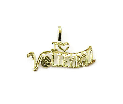 14K Yellow Gold I Love Volleyball Charm Necklace Pendant ~ 0.5 g
