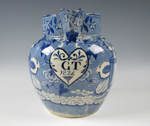 Rare Antique Blue Staffordshire Presentation Pitcher Dated 1824 in Heart