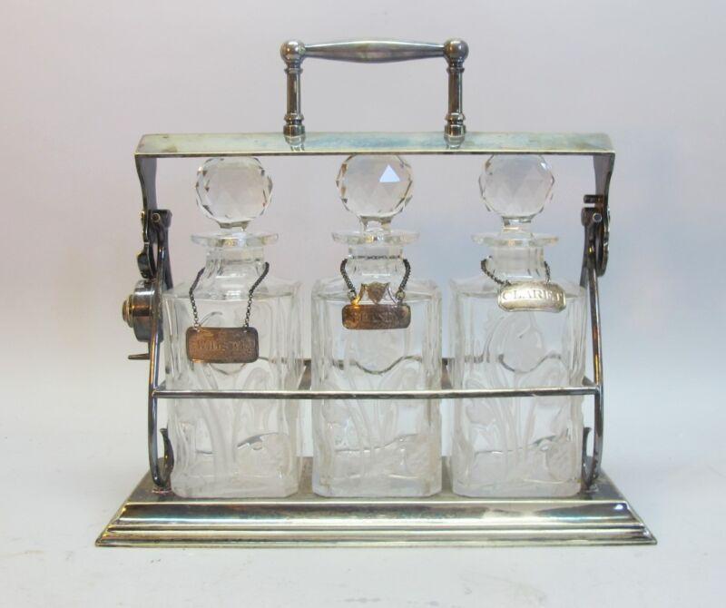 Superb English ART NOUVEAU Engraved Crystal Decanters & Tantalus c. 1910 antique