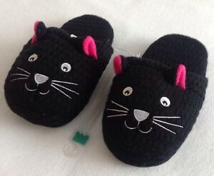 Womens Black Cat Slippers