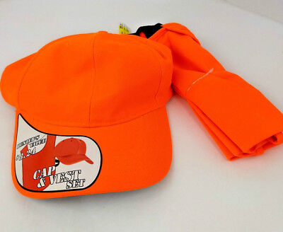 - 2 piece Set Orange Hunting Safety Vest and Hat One Size Fits Most NWT