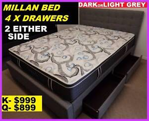 NEW Queen Bed Drawers Under $899. RENTAL $10.60 PW. King $11.80PW Ipswich Region Preview
