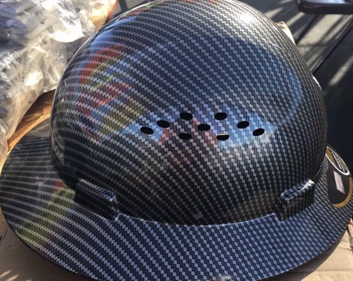 Fiberglass  Full Brim Hard Hat Black/Silver with Fas-trac Suspension