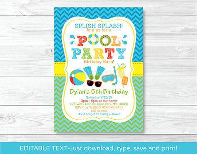 Boys Pool Party Printable Birthday Invitation Editable PDF - Pool Party Invites