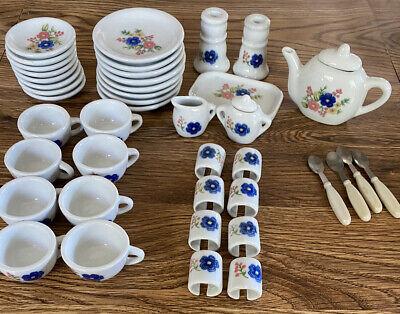 Vintage Strombecker Childs Porcelain Tea Set 44 Pieces Blue/Pink Flowers