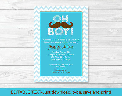 Mustache Little Man Oh Boy Printable Baby Shower Invitation Editable PDF](Little Man Invitations Baby Shower)
