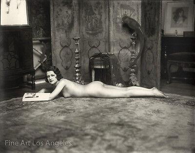 Alfred Cheney Johnston Photo  Female Figure Laying On Carpet  1920S