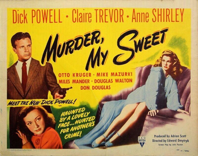 MURDER, MY SWEET (1944) Vntg orig half sheet poster FILM NOIR unfolded VG-