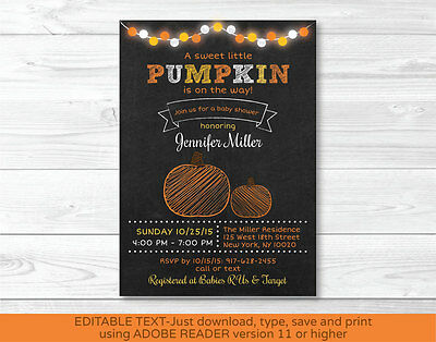 Pumpkin Chalkboard Printable Baby Shower Invitation Editable PDF](Pumpkin Baby Shower Invitations)