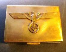 German Nazi Era Eagle Swazika Ensignia Metal Box Wooden Insert! Moonah Glenorchy Area Preview