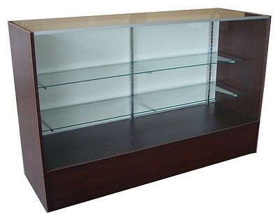 Full Vision 60 Led Light Showcase Display Glass Shelves Walnut Knockdown New