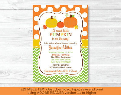 Fall Pumpkin Chevron Printable Baby Shower Invitation Editable PDF](Pumpkin Baby Shower Invitations)