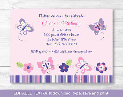 Pink Purple Butterfly Garden Printable Birthday Invitation Editable PDF](Butterfly Birthday Invitations)
